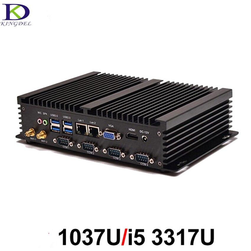 Mini PC Sans Ventilateur PC Industriel Embarqué Ordinateur faible puissance Robuste Ordinateur Celeron 1037U i5 3317U Barebone PC avec 4 * RS232 COM