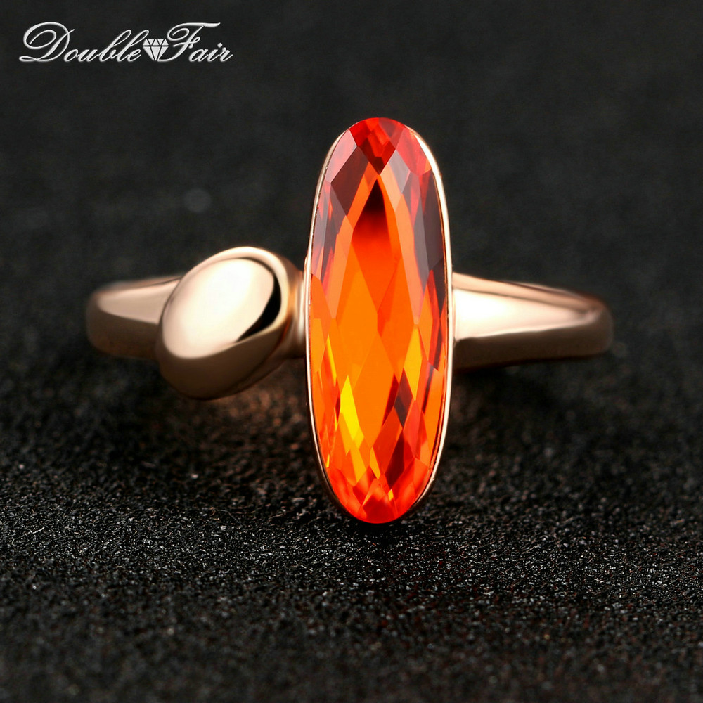 Double Fair Brand Orange Crystal Long Oval OL Style Finger Ring Rose Gold Color Fashion Wedding Party Jewelry For Women DFR234
