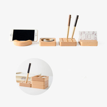 Walnut Wood Desktop Stationery Storage Box Decoration Wool Office Desk Business Card Box Pen Cell Phone Holder Shelf  1