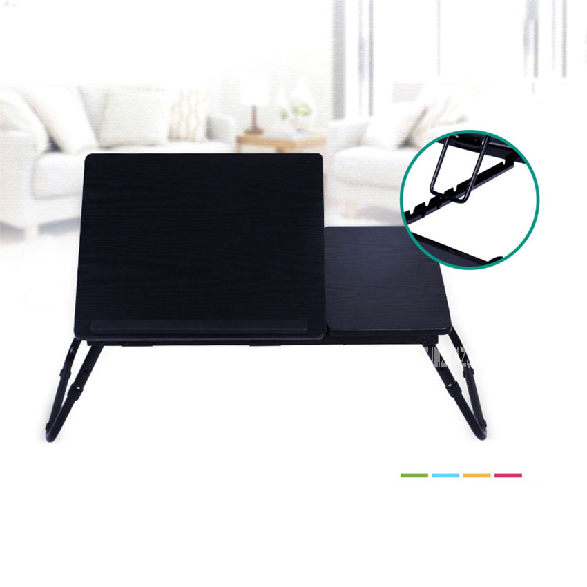 Simple <font><b>Folding</b></font> <font><b>Notebook</b></font> <font><b>Table</b></font> Steel Pipe MDF Board Standing Laptop Desk Portable Adjustable Bed Sofa Computer Studying <font><b>Table</b></font> image
