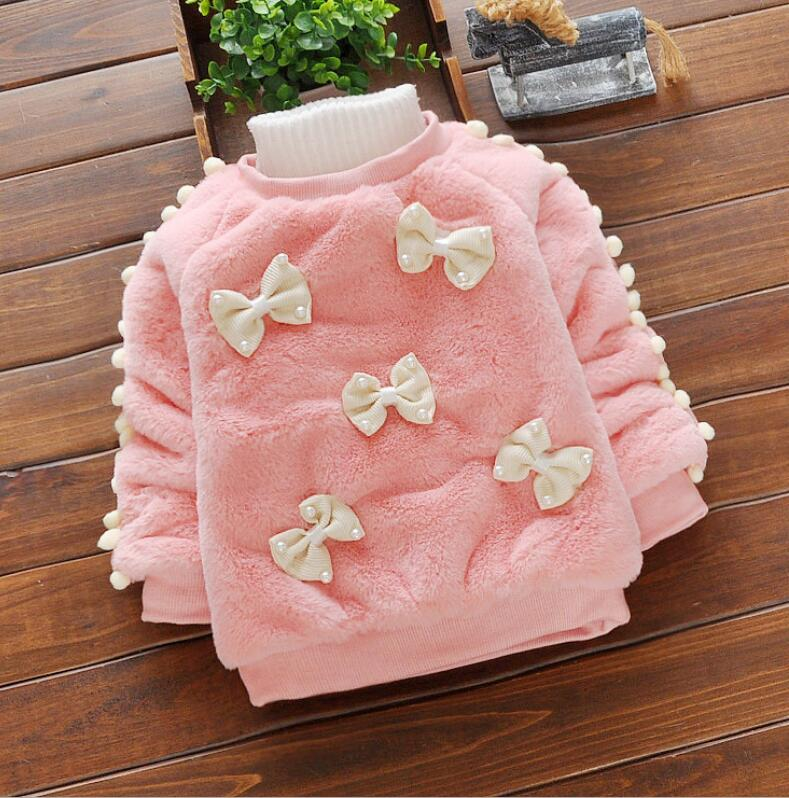 toddle Girls fur Sweaters Winter 2018 New girl bowknot Knitted Clothes Kids Autumn winter baby Add wool warm Sweater children