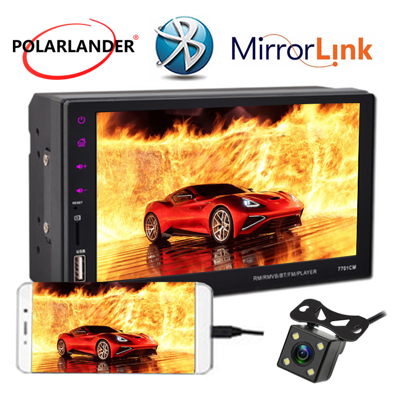 2 Din Car Radio Touch Mirror Link Screen 7 Mirror For Android Phone 9 Languages Hands Free BT/FM/TF/USB With Rear View Camera