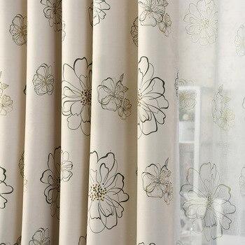 Cortinas para salón comedor dormitorio Simple americano Pastoral doble cara  impresión alto sombra ventana flores precio especial