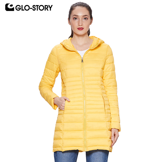 87b1e1dbe GLO STORY 2018 Fall Women's Winter Coat Lightweight Parka with Hooded  Zipper Closure Ladies Winter Jackets Female Coats WMA 6475-in Parkas from  ...