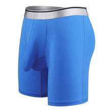 Ice silk long style Men Super Big super larger size 7XL mens male boxer underwears quick-drying cool blue white 1125 gray