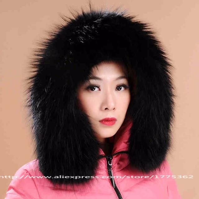 Mapache cuello de piel de mapache cap collares con otoño invierno cálido cuello de la chaqueta de algodón acolchado ropa de capa hoode collares s #01