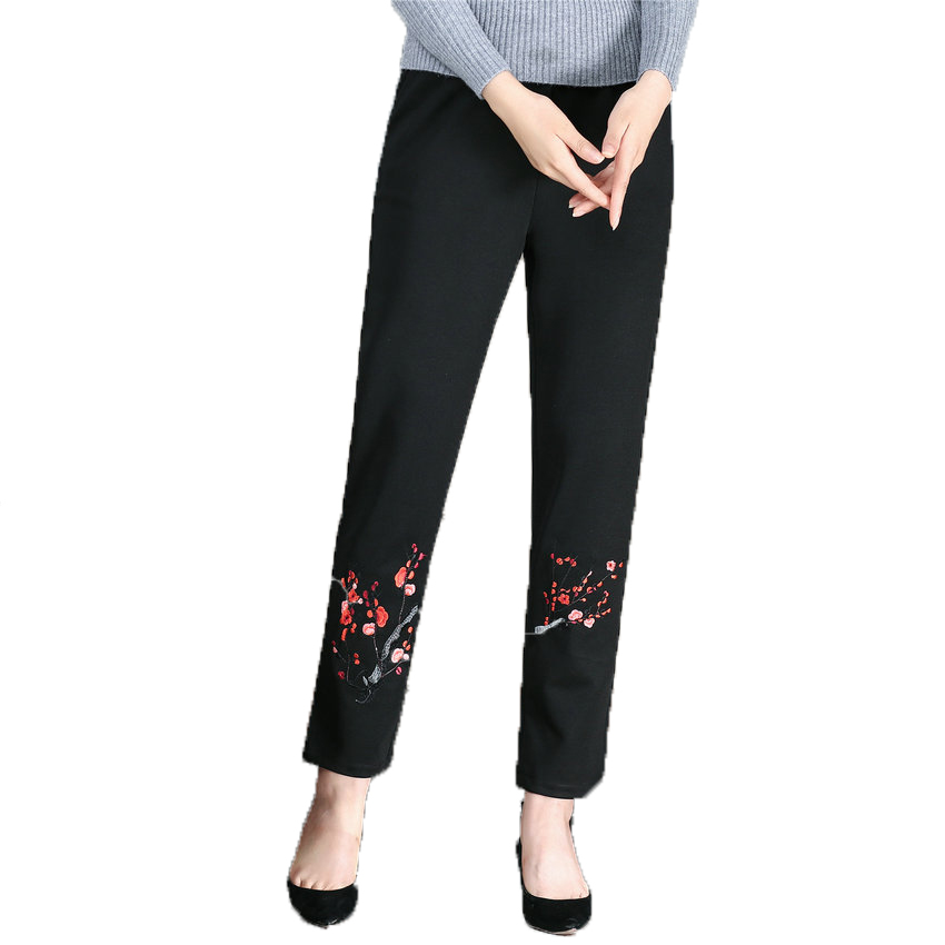 WAEOLSA Woman Pant Autumn Chinese Women Black Trouser Elastic High Waist Pants Mother Flower Embroidery Trouser Eldely Lady Pant in Pants amp Capris from Women 39 s Clothing