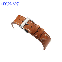 JUNSI Produced Fashion Brown Leather Watch Strap Good Waterproof And Permeability 22mmWatch Band