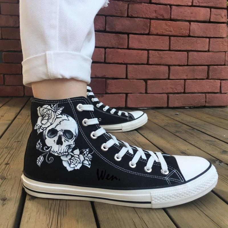 2f49e9a2b1b Wen Original Design Custom Hand Painted Shoes Skull Man Rose Skullomania  High Top Men Women s Canvas Sneakers