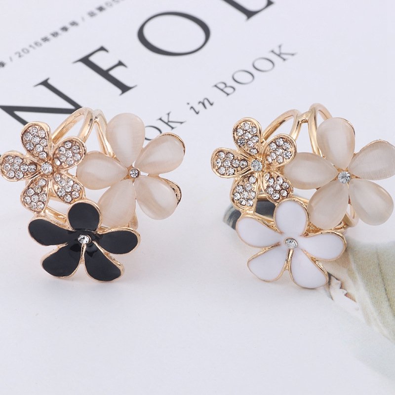 Fashion Drop oil Flower With three Rings For Women Ladies Shawl Scarf Buckle Accessories Brooches Pin Clips