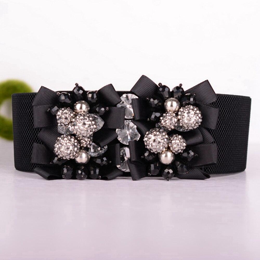 Trendy Elastic Waist Belt For Women Vintage Wide Corset Belts Big Beads Flower Buckle Cummerbund Stretch Waistband Strap Cinch