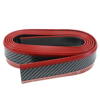 2.5M Black/Red Car Front Lip Bumper Protection Carbon Fiber Strips Stickers Car Bumper Skirts Decoration Car styling Universal
