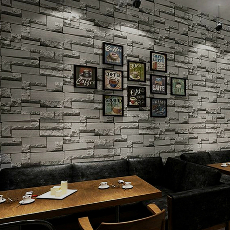 Us 154 56 Off3d Slate Stone Brick Effect Wallpaper Roll Greyyellow Wall Paper For Living Room Store Bar Restaurant Background In Wallpapers From