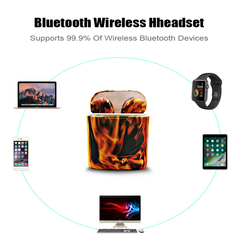 m&j i7s tws camo earbuds wireless bluetooth double earphones all bluetooth mobile