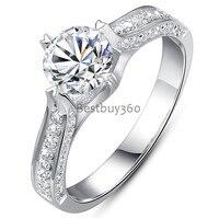Diamond Jewelry 1 Carat 925 Sterling Silver Ring Sona Mariage Nupcial De Mariee Casamento Boda PT950