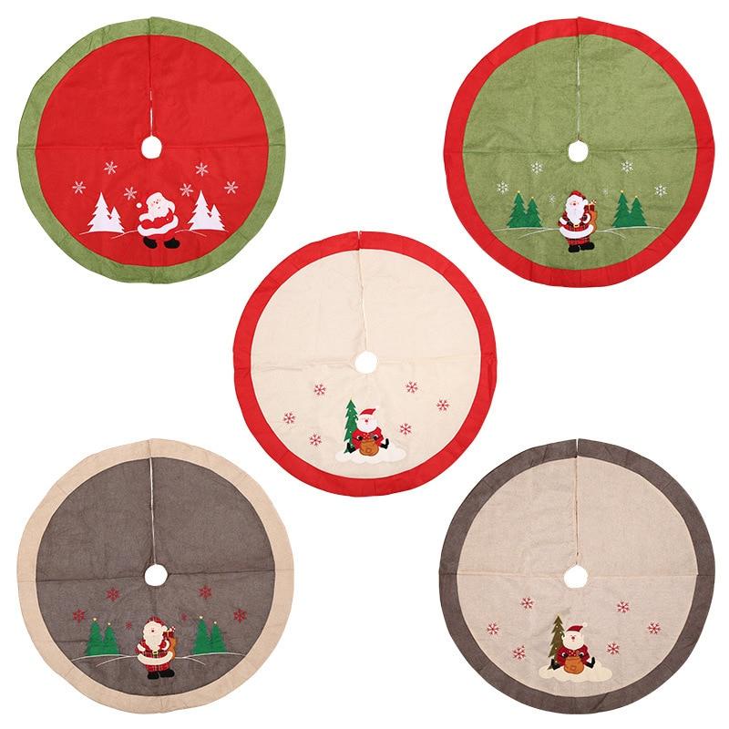 Linen Christmas Tree Skirt: Diameter 105CM Christmas Decorations High Grade Linen Tree