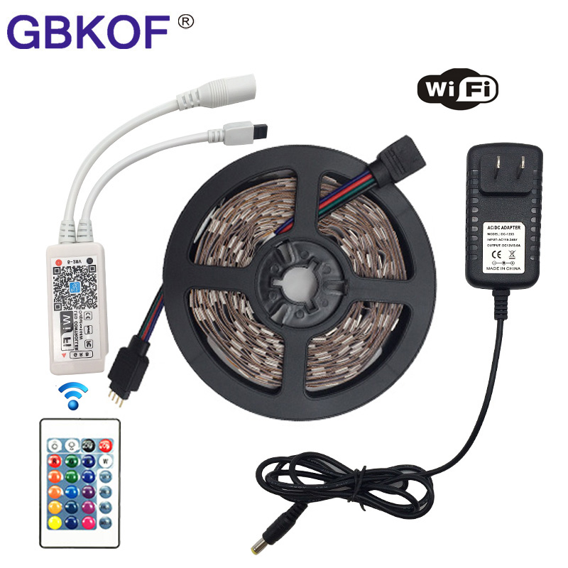 SMD5050 15M 10M 5M RGB LED Strip Light 60Leds/m DC 12V tape ribbon diode flexible waterproof WiFi Controller Power adapter Set riri won smd5050 rgb led strip waterproof led light dc 12v tape flexible strip 5m 10m 15m 20m touch rgb controller adapter