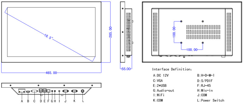 "18.5"" all-in-one pc with Intel j1900 2.0GHz 4usb/2rs232/wifi industrial tablet pc with Resistive touch screen 1366x768"