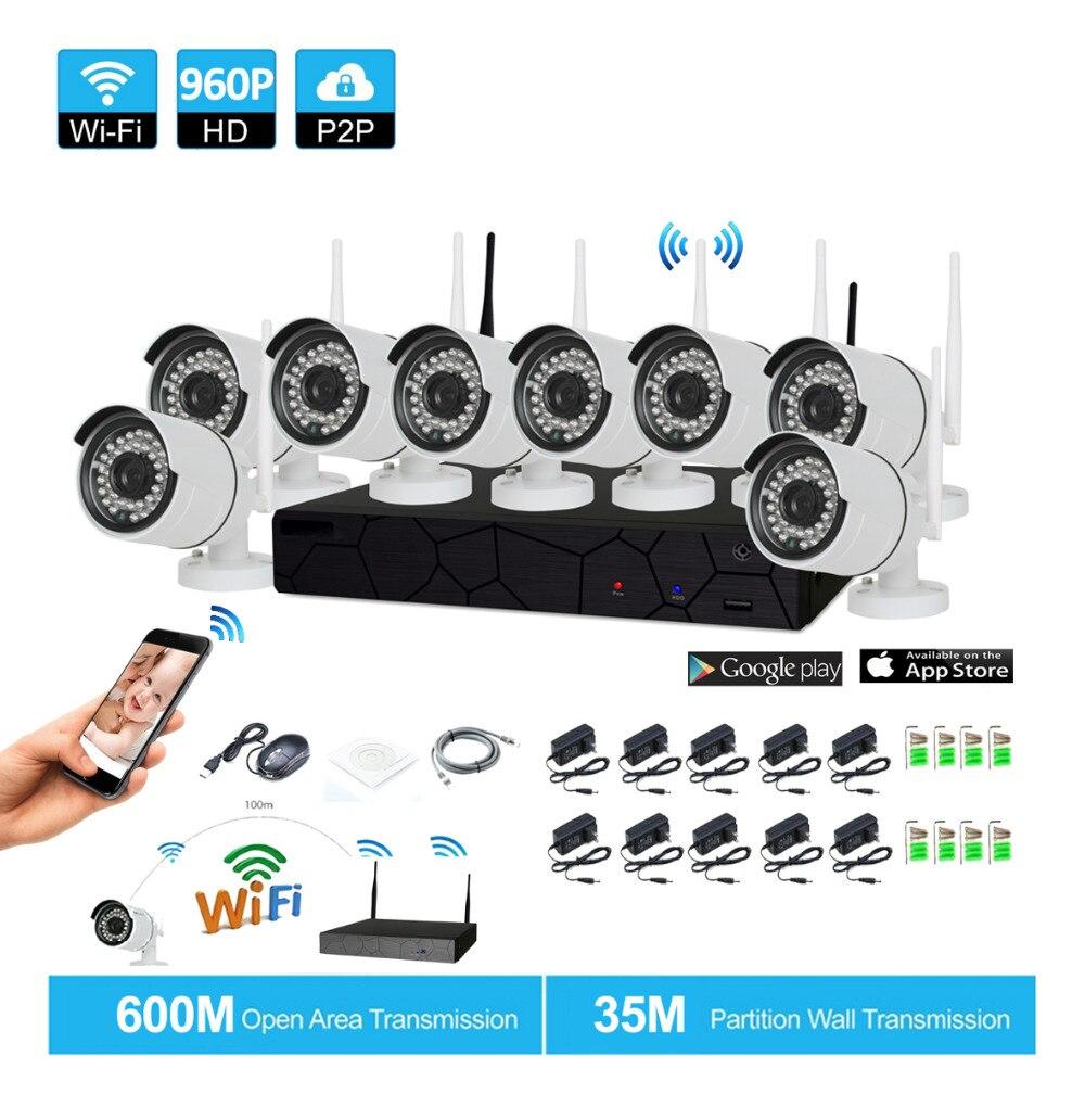 Plug and play 8CH 1080 P HD Беспроводной NVR комплект P2P 960 P Крытый Открытый ИК Ночное Видение безопасности 1.3MP IP камера WI-FI CCTV Системы