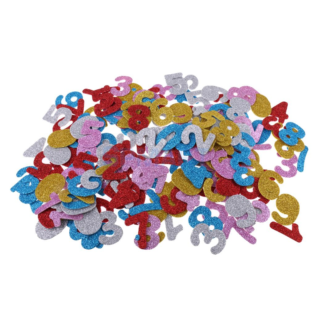 200Pcs 4cm Glitter Foam Stickers Self Adhesive Numbers Sticker for Scrapbooking Card Art Craft Making Kids Fun Creative Toys DIY kscraft cute unicorn transparent clear silicone stamps for diy scrapbooking card making kids fun decoration supplies