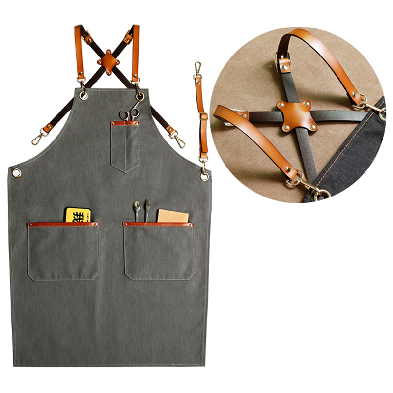 New Denim Bibs Cowboy Aprons for Women Men Leather BBQ Chef Home Kitchen Dress Barber Hairdress Cafe Cook Waiter logo Pinafore