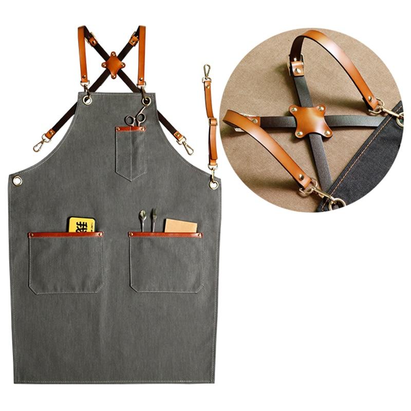 Nouveau Denim bavoirs Cowboy tabliers pour femmes hommes en cuir BBQ Chef maison cuisine robe barbier coiffure café cuisinier serveur logo avant