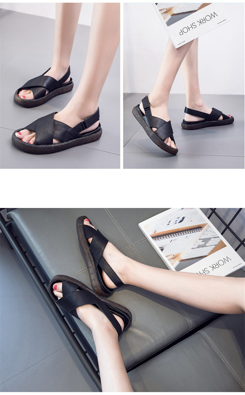 Genuine Leather Handmade Female Sandals Soft Bottom Casual Women Flats Platform Shoes Cross Strap Peep Toe Ladies Slippers Shoes (6)