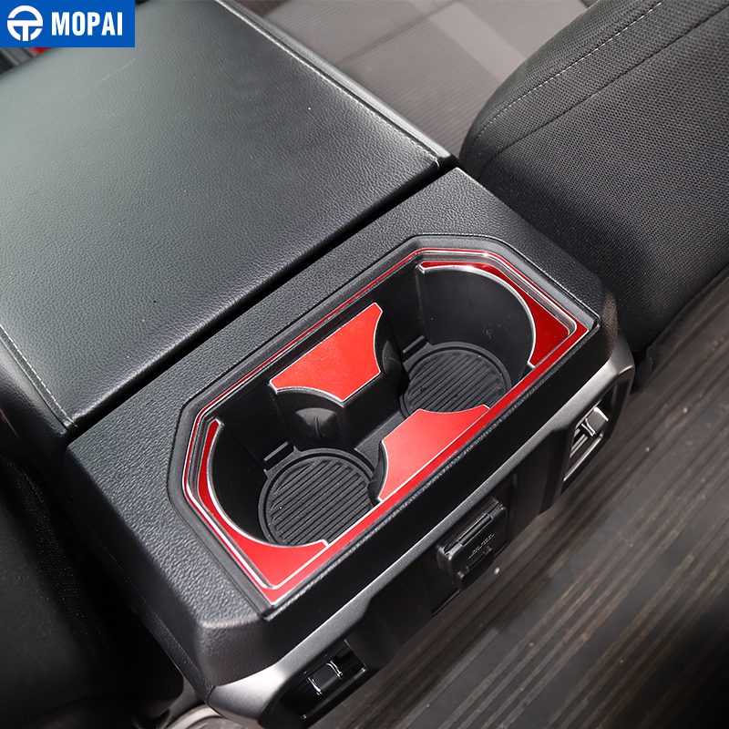 Image 2 - MOPAI Car Interior Gear Shift Panel Front Rear Cup Holder Decoration Cover Sticker for Ford F150 2016 Up Car Accessories Styling-in Interior Mouldings from Automobiles & Motorcycles
