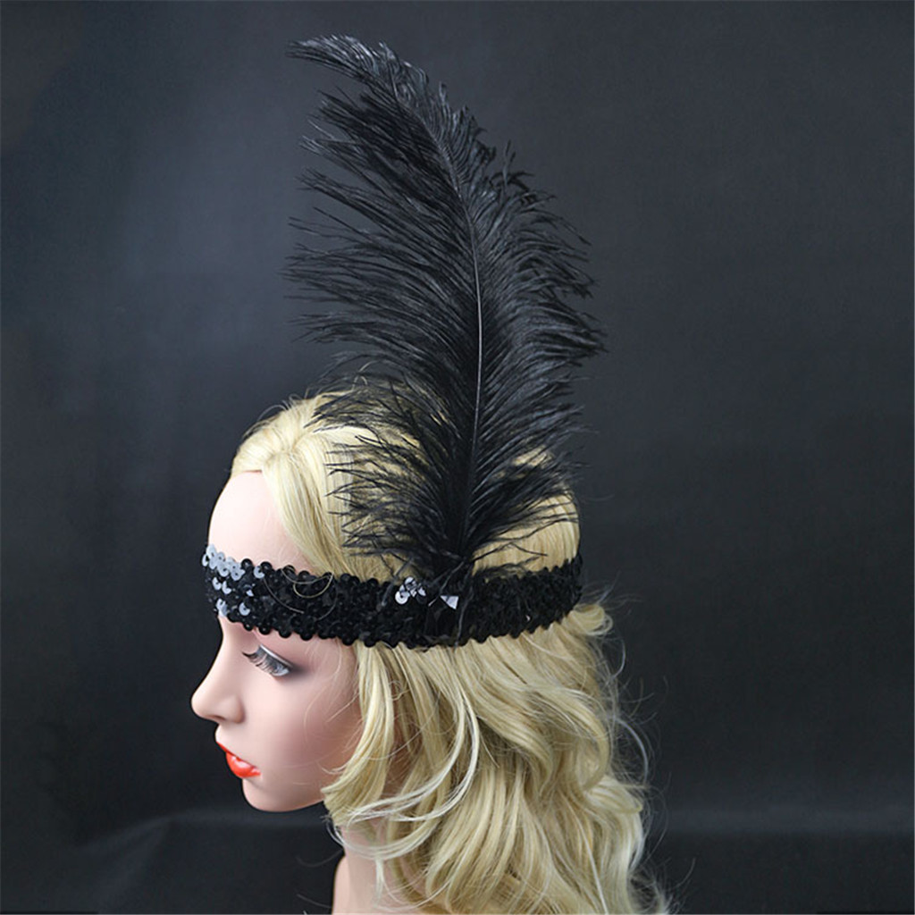 headpiece black feather flapper
