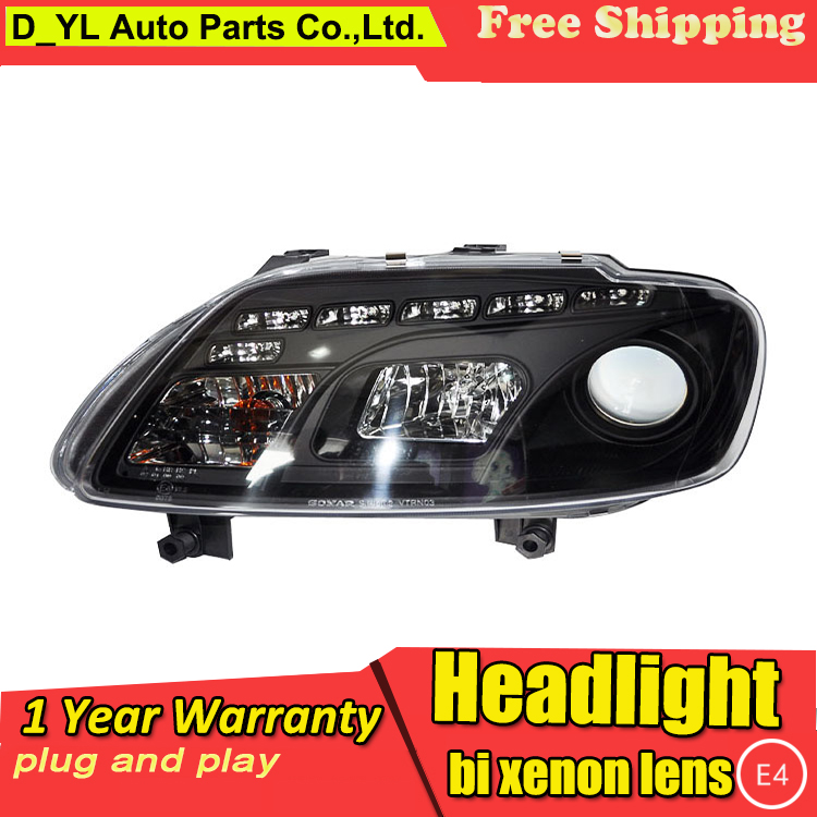 D YL Car Styling for Volkswagen Touran Headlights 2003 2006 Touran LED Headlight DRL Lens Double