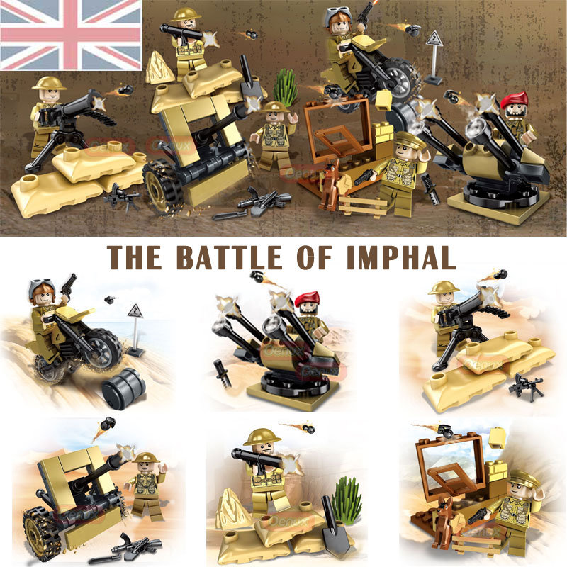 Oenux New World War 2 The Battle of Imphal Model Military Building Block WW2 UK British Army Soldiers Figures DIY Brick Kids Toy new 12pcs ancient toy soldiers