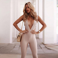 2018 New Winter Women Runway Bandage Jumpsuit Black Apricot V Neck Sleeveless Hollow Out Full Length Party Bodysuit Wholesale