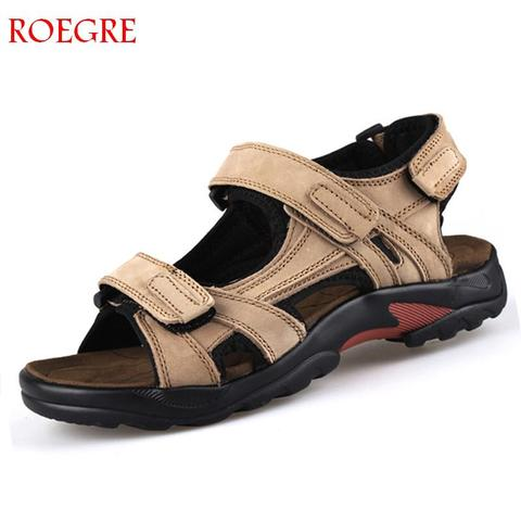 Brand Casual Men Genuine Leather Soft Sandals Comfortable Beach Shoes High-Quality Men Roman Summer Men Sandals large size 48 Pakistan