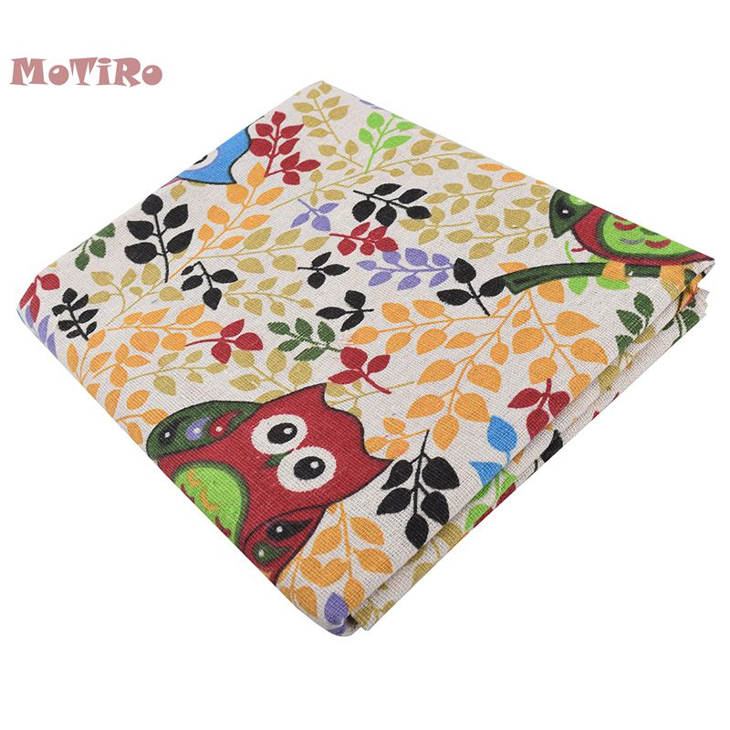 Fabric Home & Garden Honest Motiro,cotton Linen Fabric,half Meter,cartoon Owls Series,printed Cloth For Quilting/diy Sofa/table/curtain/bag/cushion Material Attractive Appearance