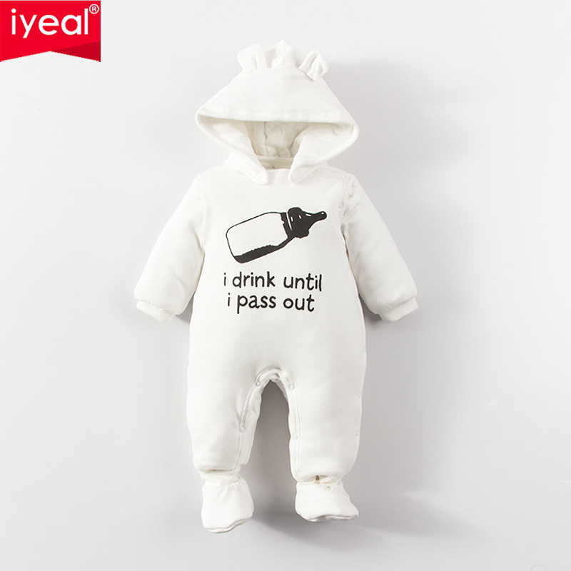 IYEAL Newborn Baby Autum Winter Romper Hooded Warm Soft Baby Outwear For Boys Girls Overalls Infant Clothing Toddler Jumpsuit baby winter warm velvet overalls 6m 4years jeans overalls infant long pants baby toddler girls boys jumpsuit rompers 1850