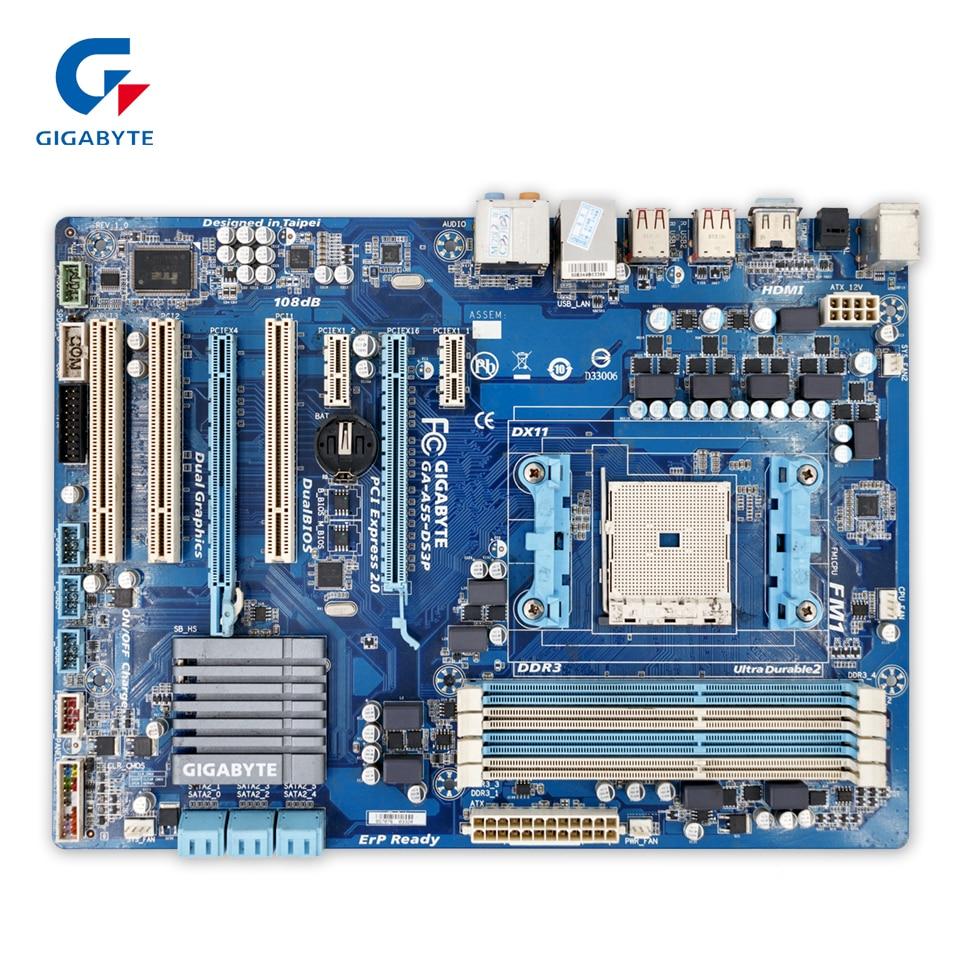 Gigabyte GA-A55-DS3P Original Used Desktop Motherboard A55-DS3P  AMD A75 Socket FM1  DDR3 SATA2 USB2.0 ATX  free shipping original motherboard for gigabyte ga a55 s3p socket fm1 ddr3 32gb a55 s3p all solid atx desktop motherboard