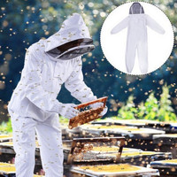 XL XXL Beekeeper Hive Accossories White Cotton Beekeeping Jacket Veil Beekeeper Equipment Tools Hat Sleeve Suit