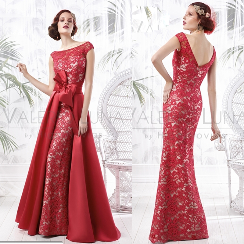 Latest Design Red Lace Mother Of The Bride Long Evening