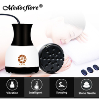 Natural Stone needle scraping instrument Electric heating vibration beauty massager dredging collaterals Detox for health care