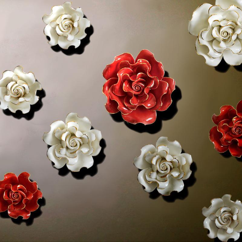 Ceramic Wall Flower Decor: European Style Three Dimensional Wall Flowers Ceramic