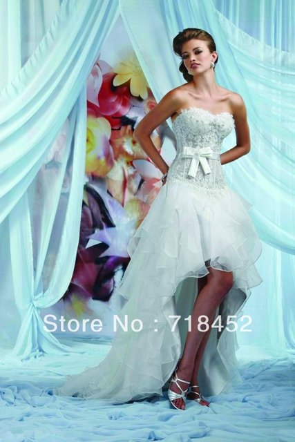 See Through 2013 Hi Low Wedding Dresses Beach Style Short Front Long ...