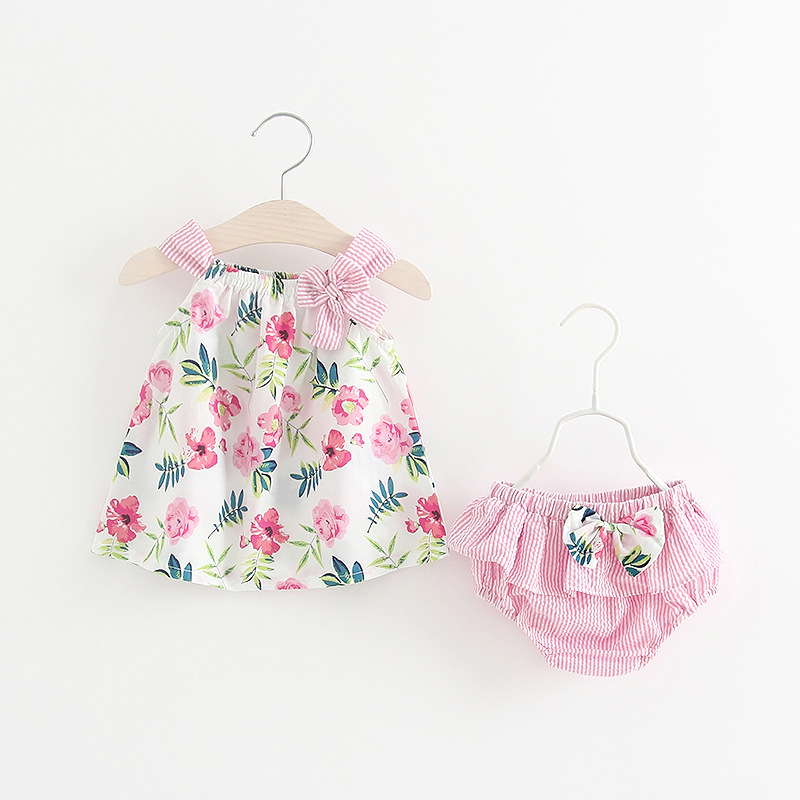 2018 Summer baby girl clothing set Floral Tshirt+Shorts Bloomers baby girl clothes Newborn Outfits Cute Girls 1-3 years 3pcs set newborn infant baby boy girl clothes 2017 summer short sleeve leopard floral romper bodysuit headband shoes outfits