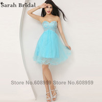 Crystal Sky Blue Short Homecoming Dresses 2016 In Stock Cheap Sweetheart Ruffles Graduation Dress Party Gown