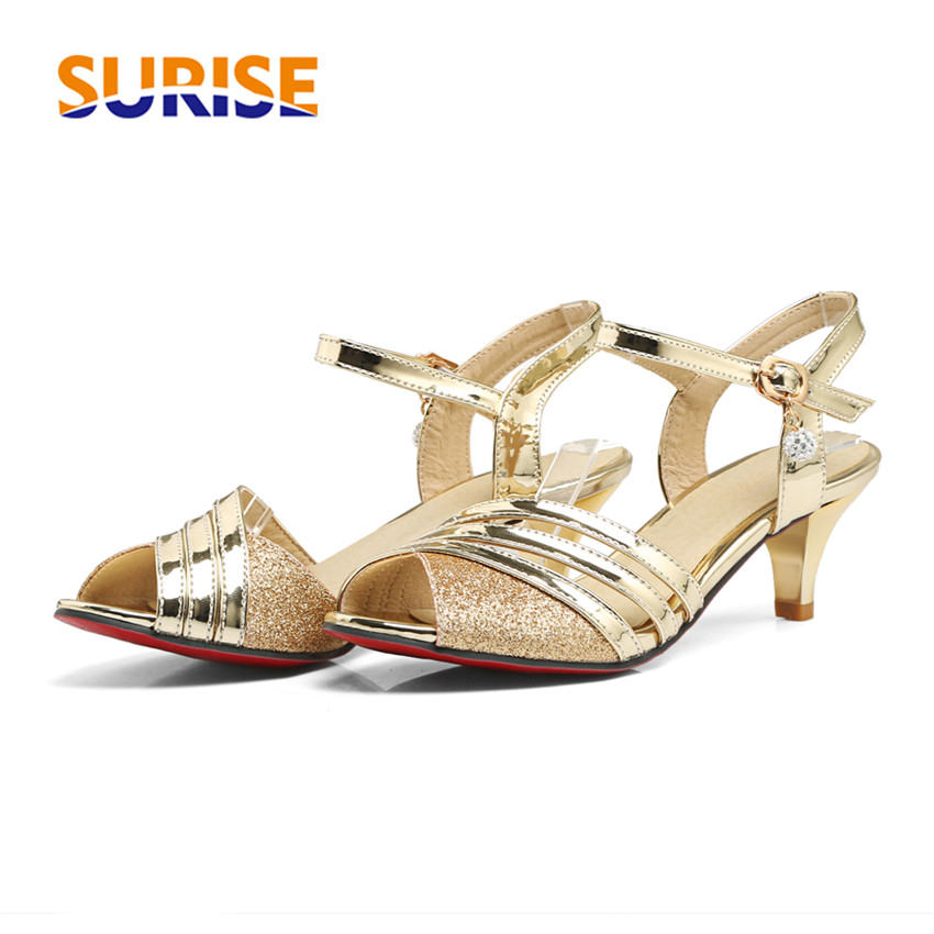 купить Big Size Women Sandals Patent Leather Sequin Bling Spike Medium High Heels Kitten Open Toe Casual Party Summer Rhinestone Ladies по цене 1279.71 рублей