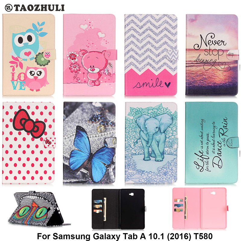 Fashion PU Leather Flip Case For Samsung Galaxy Tab A 10.1 (2016) T580 SM-T580 Original Tablet Stand Case With Card Slot B08 цена