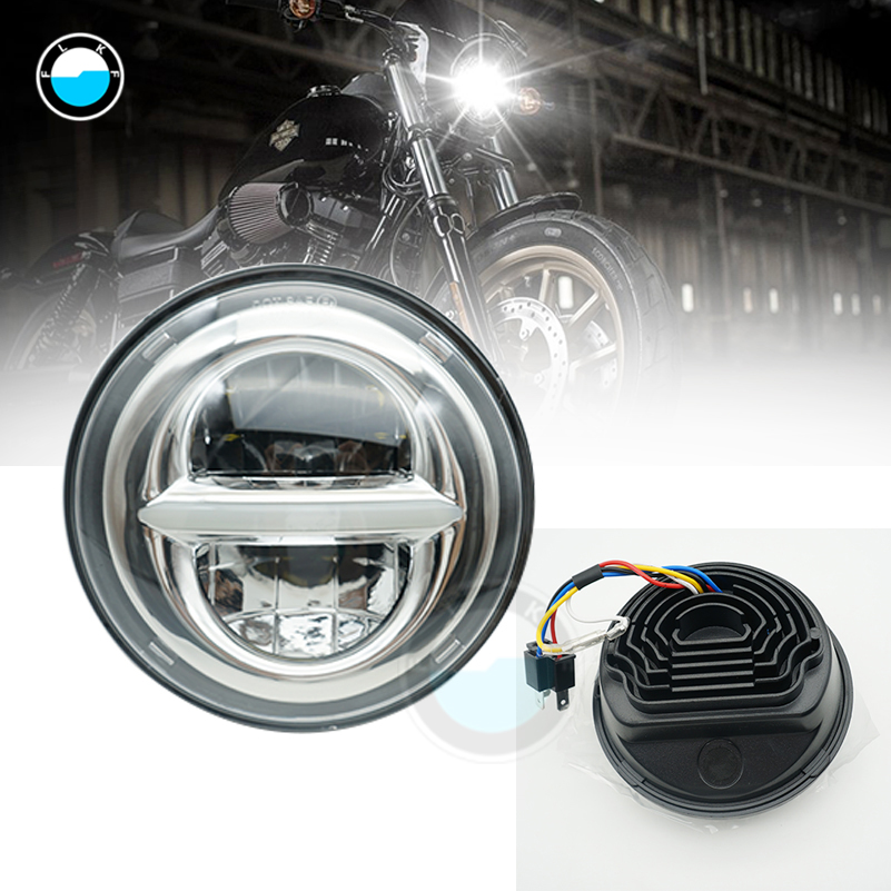 5.75 Round Headlamp 5-3/4 Inch LED Headlight DRL for Harley Dyna Low Rider Sportster Softail Breakout Sportster SuperLow. 5 75inch round led projection daymaker headlight motorcycle h4 hi lo beam 5 3 4 inch headlamp for harley softail dyna sportster
