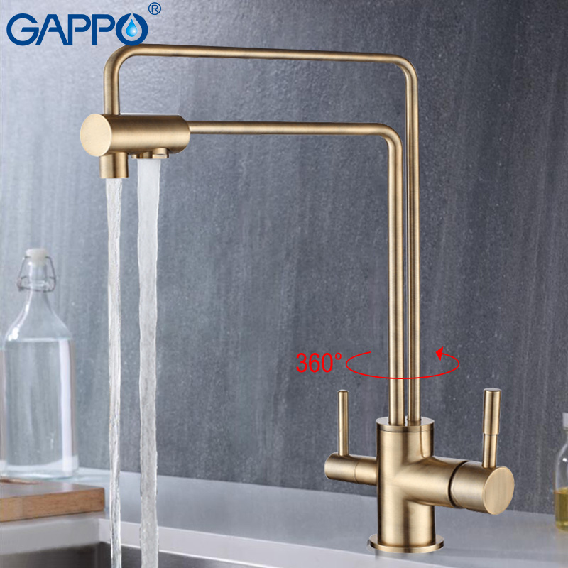 GAPPO 1set water mixer tap kitchen sink faucet torneira 360 Brass kitchen Mixer drinking water saver filter taps G4398-5/4398-6 sognare 100% brass marble painting swivel drinking water faucet 3 way water filter purifier kitchen faucets for sinks taps d2111