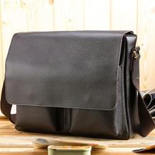 2017 Genuine Leather Men Bag Business Laptop Briefcase Brand Designer Shoulder Bags Vintage High Quality Men Messenger Bag Bolsa
