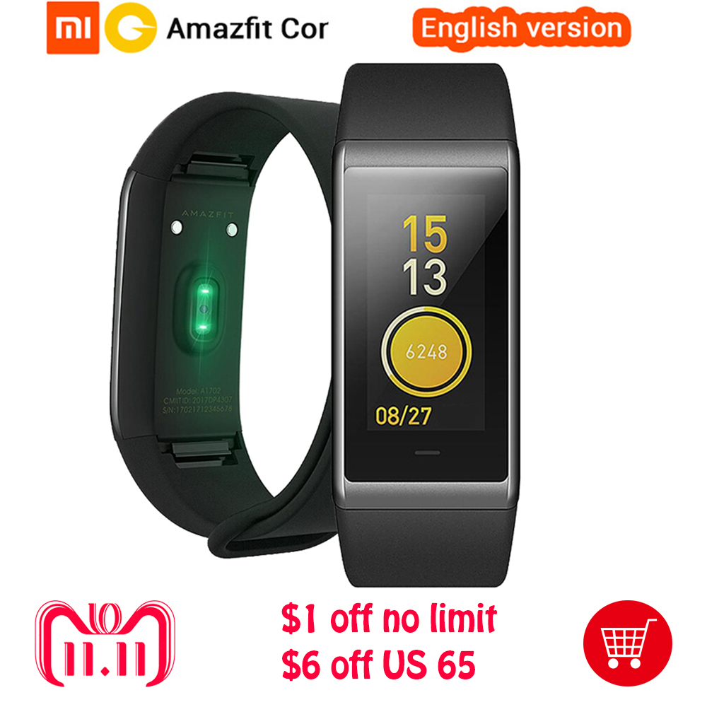 где купить English Version Original Huami Amazfit Cor MiDong Smart Bracelet 5ATM Waterproof 2.5D Color IPS Touch Screen 316L Smart Band дешево