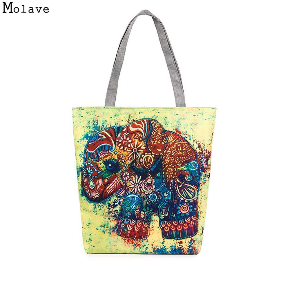 Ladies Bags Cute Elephant Printed Canvas Bags Beach Shoulder Women Tote Female Handbags Sac A Main Femme De Marque Pochette oc06 texu canvas striped women handbags patchwork tote large women shoulder bag sac a main femme de marque bolsos mujer